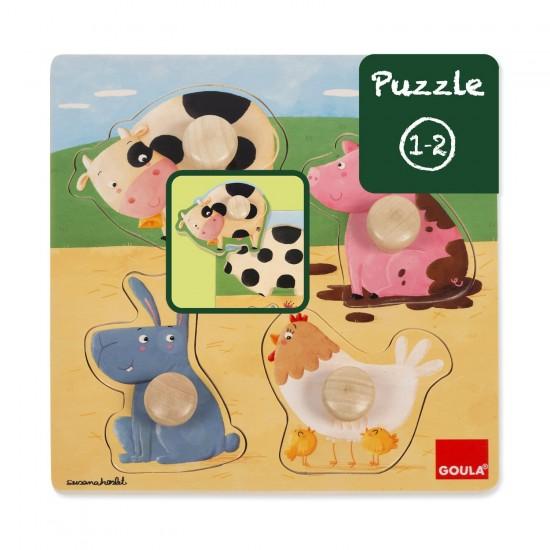 Puzzle encastrement en bois : Les animaux de la ferme - Diset-Goula-53069