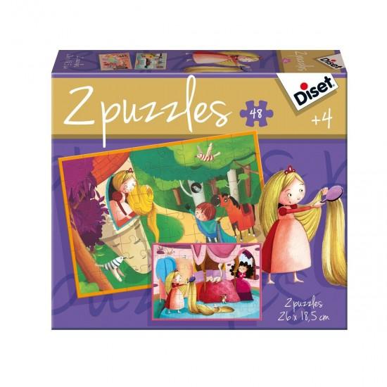 Puzzles 2 x 24 pièces : Conte de Raiponce - Diset-Jeux-69969