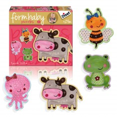 Puzzles 4 x 2 pièces : Form Baby Animaux