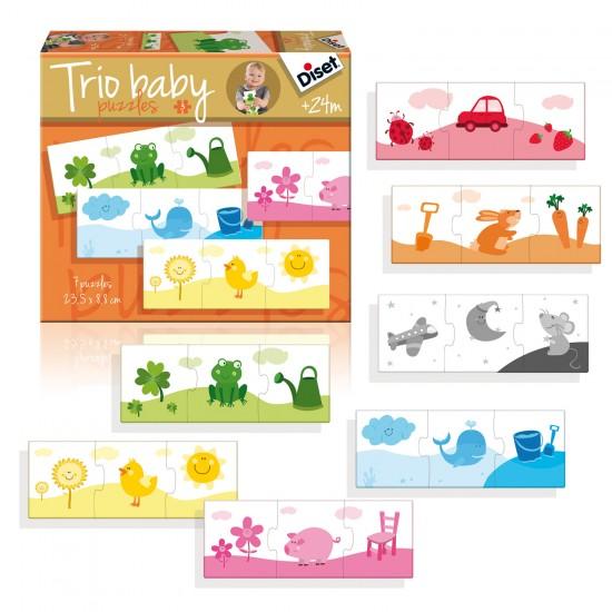 Puzzles 7 x 3 pièces : Trio Baby Couleurs - Diset-Jeux-69967