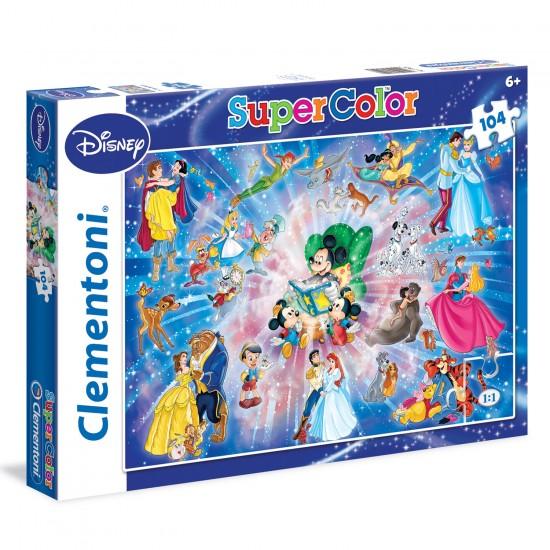 Puzzle 104 pièces : Famille Disney - Clementoni-27954