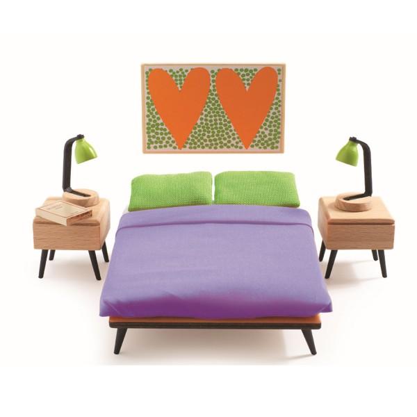 accessoire maison de poup es la chambre des parents jeux et jouets djeco avenue des jeux. Black Bedroom Furniture Sets. Home Design Ideas