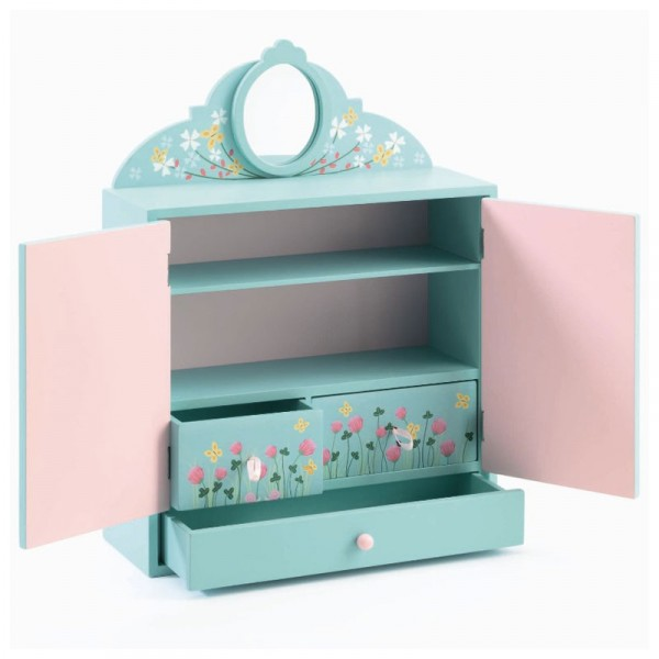 armoire en bois jardin fleuri bo te bijoux jeux et. Black Bedroom Furniture Sets. Home Design Ideas