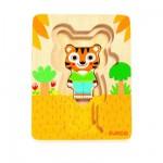 Encastrement 6 pièces en bois : Puzzle 3 niveaux : Tigre