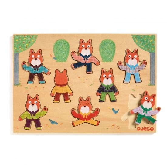 Encastrement 8 pièces en bois : Puzzle Foxymatch - Djeco-01253