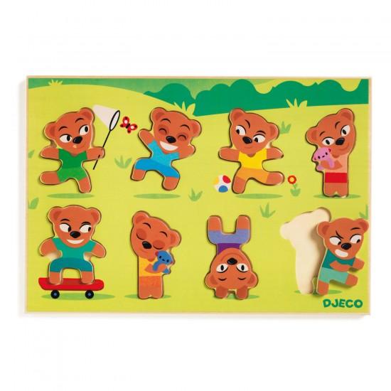 Encastrement 8 pièces en bois : Puzzle Teddymatch - Djeco-01252