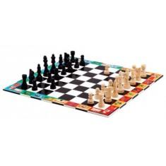 Jeu d'échecs et dames en bois