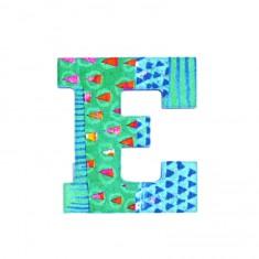Lettre décorative en bois Paon : E