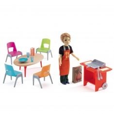 Maison de poupée : barbecue et accessoires