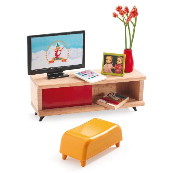 mobilier pour maison de poup es salon t l vision jeux. Black Bedroom Furniture Sets. Home Design Ideas