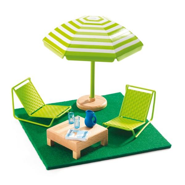 mobilier pour maison de poup es terrasse jeux et jouets djeco avenue des jeux. Black Bedroom Furniture Sets. Home Design Ideas