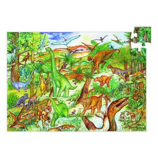 Puzzle 100 pièces - Poster et livret : Découverte dinosaures - Djeco-07424