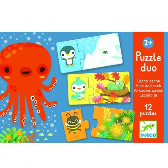 Puzzle 12 x 2 pièces : Duo cache-cache - Djeco-08156
