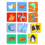 Puzzle 12 x 2 pièces en bois -  Premiers puzzles  : Animaux de couleurs