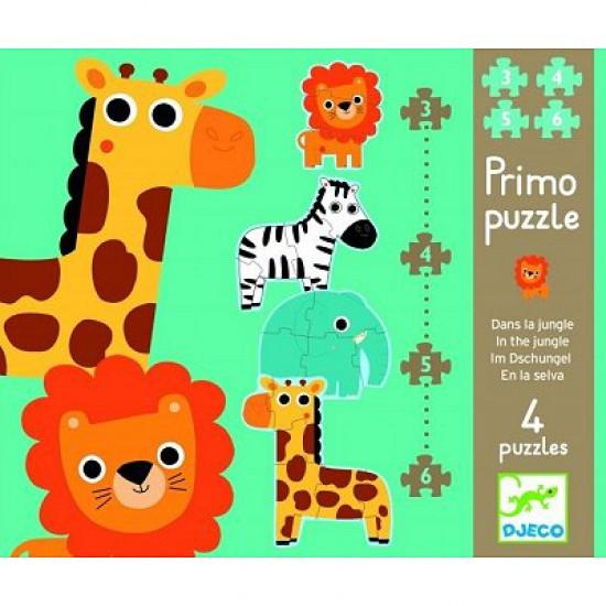 Puzzle 18 pièces -  4 puzzles : Dans la jungle - Djeco-07135
