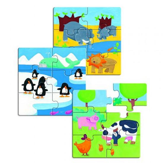 Puzzle 18 pièces en bois - Premiers puzzles : Animaux & Co - Djeco-01552