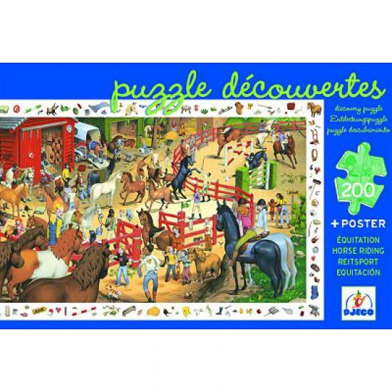 Puzzle 200 pièces - Poster et jeu d'observation : Equitation - Djeco-07454