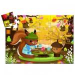 Puzzle 24 pièces : Silhouette : Le goûter de l'écureuil