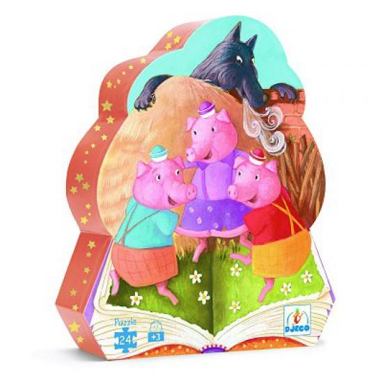 Puzzle silhouette - 24 pièces - Les trois petits cochons - DJ07212