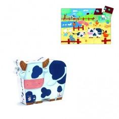 Puzzle 24 pièces - Silhouette : Vaches à la ferme
