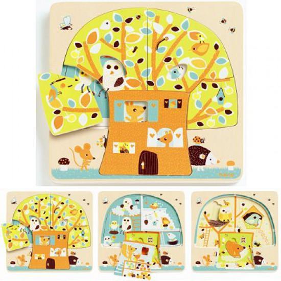 Puzzle - 3 niveaux - Cabane dans les arbres - Djeco-01481