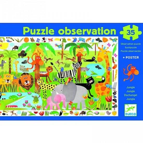 Puzzle 35 pièces - Poster et jeu d'observation : La jungle - Djeco-07590