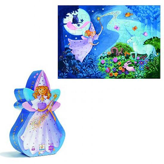 Puzzle 36 pièces - Silhouette : La fée et la licorne - DJ07225
