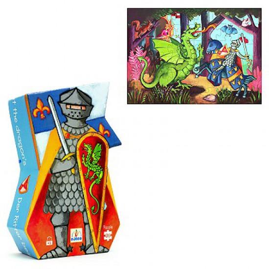 Puzzle 36 pièces - Silhouette : Le chevalier et son dragon - DJ07223