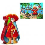 Puzzle 36 pièces - Silhouette : Le pirate et son trésor
