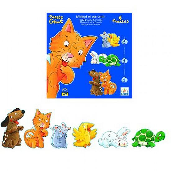Puzzle 38 pièces - 6 puzzles :  Mistigri et ses amis - Djeco-07113
