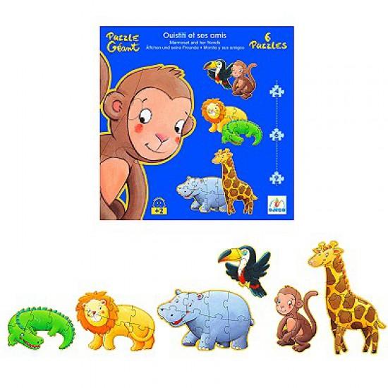 Puzzle 38 pièces - 6 puzzles : Ouistiti et ses amis - Djeco-07114