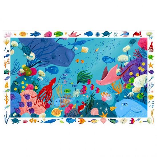 Puzzle 54 pièces : Poster et jeu d'observation : Aquatique - Djeco-07562