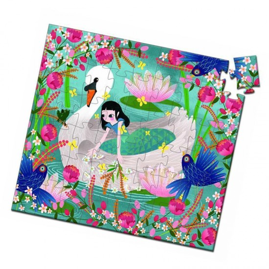 Puzzle 54 pièces : Silhouette : La demoiselle au cygne - Djeco-07255