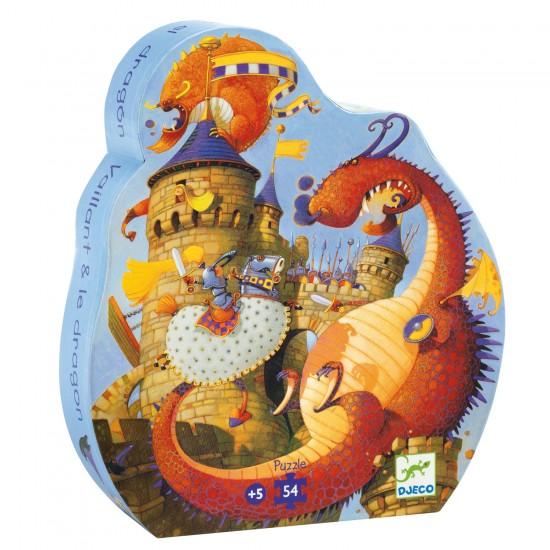 Puzzle 54 pièces : Silhouette : Vaillant et les dragons - Djeco-DJ07256