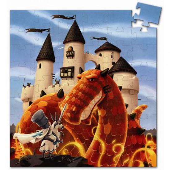 Puzzle 54 pièces - Silhouette : Château et Dragon - DJ7250