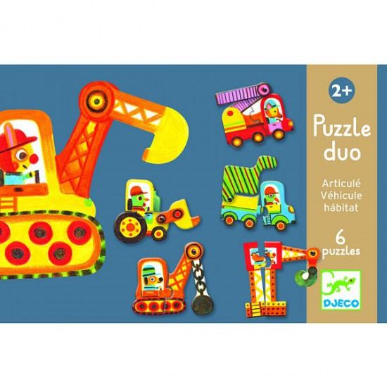 Puzzle 6 x 2 pièces : Duo : Articulo véhicule - Djeco-08170
