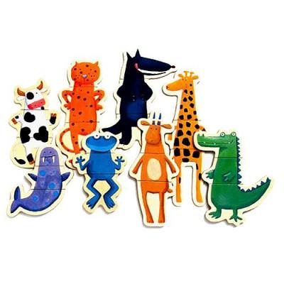 Puzzle 8 x 3 pièces  en bois - Crazy animaux - Djeco-03111