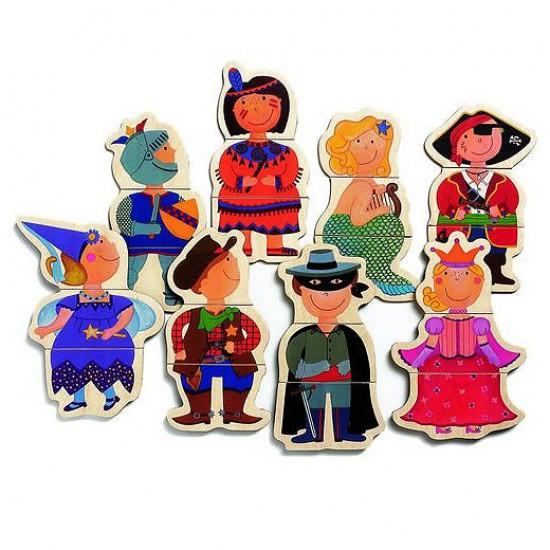 Puzzle 8 x 3 pièces en bois - Enfants déguisés - 3112