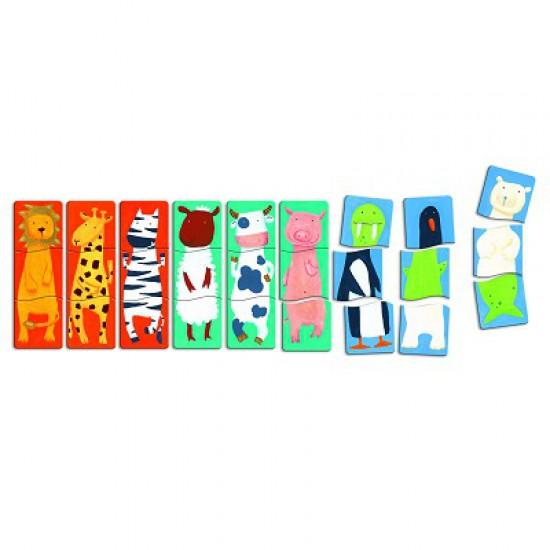 Puzzle 9 x 3 pièces en bois - Premiers puzzles : Drôles d'animaux - Djeco-01551