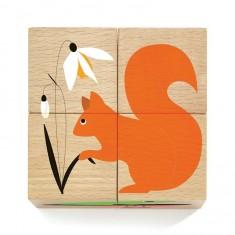 Puzzle cube en bois 4 pièces : Nature et Co
