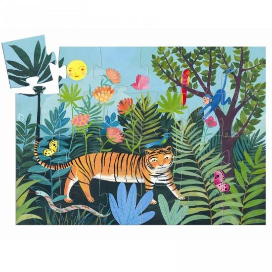 Puzzle Silhouette 24 pièces : La balade du tigre - Djeco-DJ07201