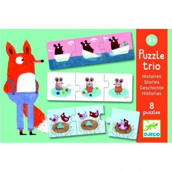 Puzzle trio histoires : 8 puzzles de 3 pièces - Djeco-08149