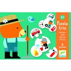 Puzzle trio métiers : 6 puzzles de 4 pièces