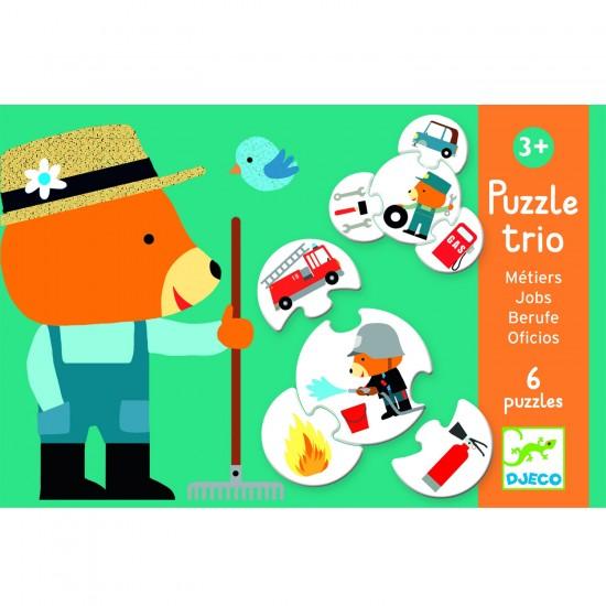 Puzzle trio métiers : 6 puzzles de 4 pièces - Djeco-08174