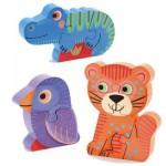 Puzzles évolutifs en bois x 3 : Tunga & Co