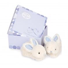 Coffret lapin bonbon : Chaussons 0-6 mois bleu