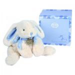 Doudou grand modèle : Lapin Bonbon bleu