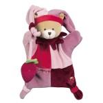 Doudou marionnette : L'ours rose avec fraise