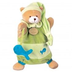 Doudou marionnette : Théodore l'ours vert avec poisson