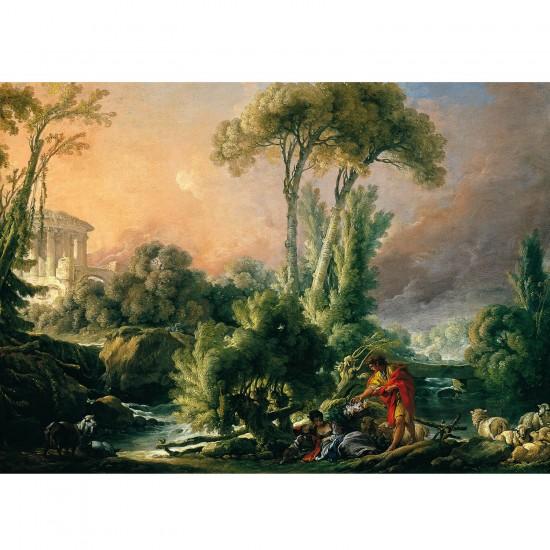 Puzzle 1000 pièces : François Boucher : Paysage fluvial avec temple antique - Dtoys-72696BO02